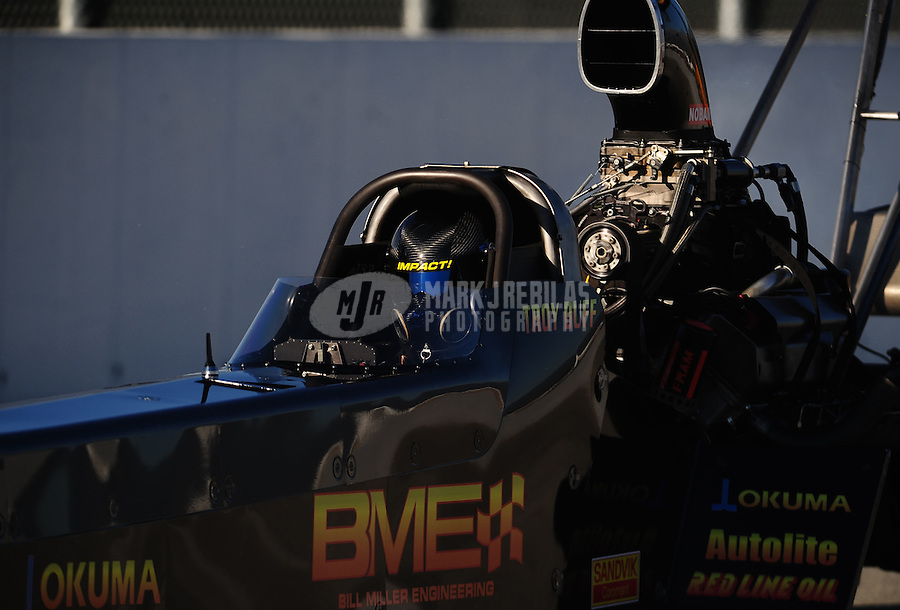 Nov 12, 2010; Pomona, CA, USA; NHRA top fuel dragster driver Troy Buff during qualifying for the Auto Club Finals at Auto Club Raceway at Pomona. Mandatory Credit: Mark J. Rebilas-