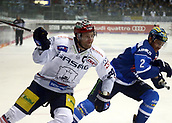 28th September 2017, Saturn Arena, Ingolstadt, Germany; German Hockey League,  ERC Ingolstadt versus Eisbaren Berlin; from left Andre RANKEL (Berlin), Patrick MCNEILL (Ingolstadt/CAN),
