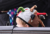 3rd December 2017, Twickenham Stoop, London, England; Aviva Premiership rugby, Harlequins versus Saracens; young Quins fan peeks over the LED boards