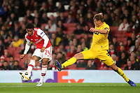 Reiss Nelson of Arsenal takes a shot at the Standard Liege goal during Arsenal vs Standard Liege, UEFA Europa League Football at the Emirates Stadium on 3rd October 2019