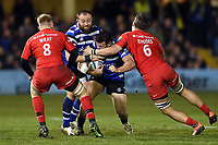 Nathan Catt of Bath Rugby is tackled high by Michael Rhodes of Saracens. Gallagher Premiership match, between Bath Rugby and Saracens on March 8, 2019 at the Recreation Ground in Bath, England. Photo by: Patrick Khachfe / Onside Images