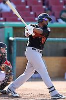 Bakersfield Blaze designated hitter Jorge Jimenez # 12 bats against the High Desert Mavericks at Mavericks Stadium on July 17, 2011 in Adelanto,California. Bakersfield defeated High Desert 11-10.(Larry Goren/Four Seam Images)