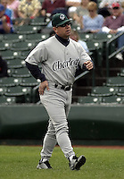 June 22, 2004:  Nick Capra of the Charlotte Knights, International League (AAA) affiliate of the Chicago White Sox, during a game at Frontier Field in Rochester, NY.  Photo by:  Mike Janes/Four Seam Images