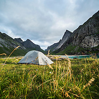 Tent camping at Horseid beach, Lofoten Islands, Norway