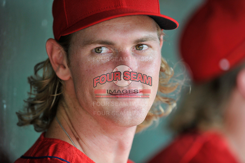 Outfielder Derek Miller (25) of the Greenville Drive during a break in a game against the Greensboro Grasshoppers on Thursday, July 14, 2016, at Fluor Field at the West End in Greenville, South Carolina. Greenville won, 3-1. (Tom Priddy/Four Seam Images)