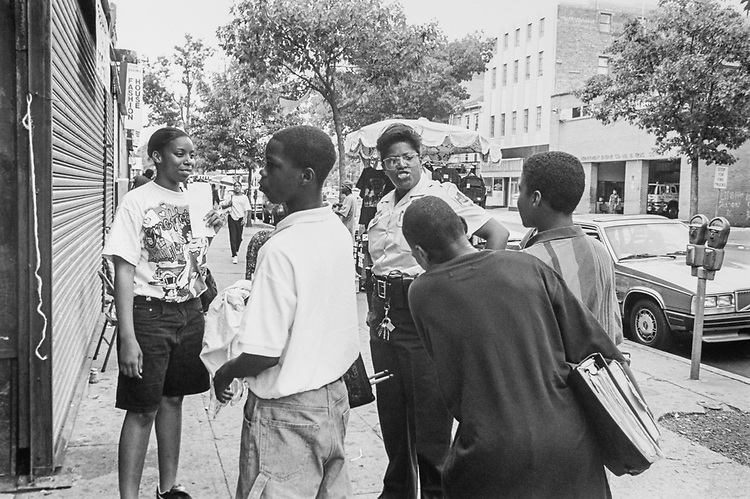Salome Wilson, Cop, quiets down these kids on 8th St. SE, on June 9, 1994. (Photo by Laura Patterson/CQ Roll Call via Getty Images)