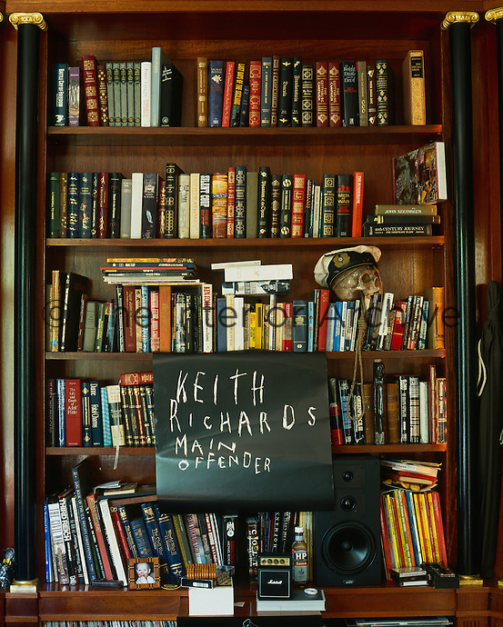 A wall of books in a private library belonging to Keith Richards of the Rolling Stones