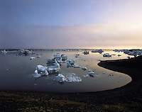 Icebergs float in dawn light in the glacial lagoon with a bank of mist behind, at Jokulsarlon, south-east Iceland