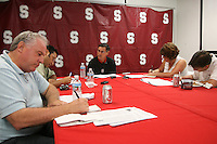 26 September 2006: Walt Harris addresses the media during a weekly news conference at the Arrillaga Family Sports Center in Stanford, CA.