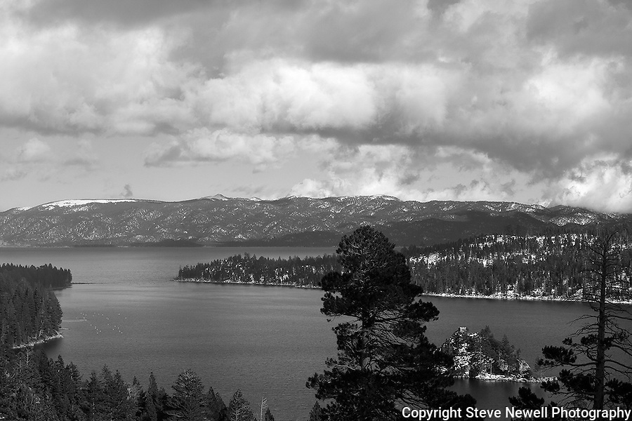 """Emerald Solitude"" Black and White. Fannette Island in Emerald Bay.  With the gate closed on  Emerald Bay Road I hiked out to Emerald Bay in the Winter of 2013 after a fresh snow storm.  I spent all day shooting in solitude at this popular Lake Tahoe destination."