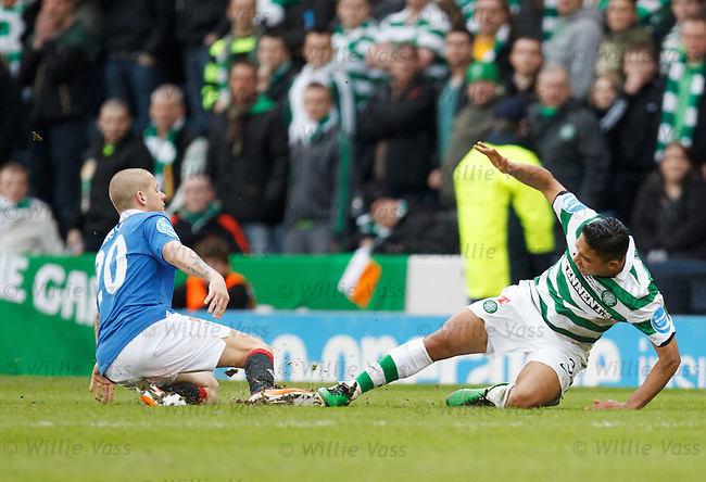 Emilio Izaguirre takes out Vladimir Weiss and is red carded