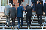 Spain´s King Juan Carlos I in the Presidency of the Council of Ministers. In the photo the Minister of Education, Culture and Sport - José Ignacio Wert helping to the King of Spain Juan Carlos I to up the stairs. July 13, 2012. (ALTERPHOTOS/Ricky)
