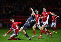 Lincoln City's Harry Anderson battles with Crewe Alexandra's George Ray, left, and Ryan Wintle<br /> <br /> Photographer Andrew Vaughan/CameraSport<br /> <br /> The EFL Sky Bet League Two - Crewe Alexandra v Lincoln City - Wednesday 26th December 2018 - Alexandra Stadium - Crewe<br /> <br /> World Copyright &copy; 2018 CameraSport. All rights reserved. 43 Linden Ave. Countesthorpe. Leicester. England. LE8 5PG - Tel: +44 (0) 116 277 4147 - admin@camerasport.com - www.camerasport.com