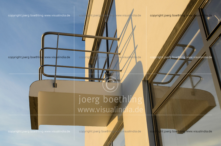 GERMANY, Dessau - Rosslau, famous Bauhaus, built 1925 - 1926 according the planning of  Walter Gropius as building for the Bauhaus school for architecture , art and design, reflection of balcony for master students
