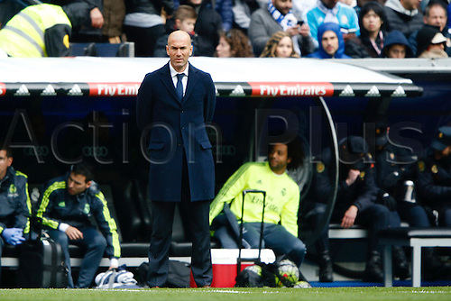 05.03.2016.  Madrid, Spain.  Zinedine Zidane Coach of Real Madrid. La Liga between Real Madrid versus Celta de Vigo at the Santiago Bernabeu stadium in Madrid, Spain