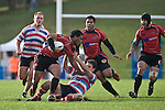 Haani Halaeua is dragged to ground as he looks for support. Air New Zealand Air NZ Cup warm-up rugby game between the Counties Manukau Steelers & Tasman Mako's, played at Growers Stadium Pukekohe on Sunday July 20th 2008..Counties Manukau won the match 30 - 7.