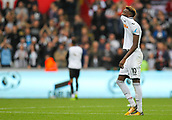 10th September 2017, Liberty Stadium, Swansea, Wales; EPL Premier League football, Swansea versus Newcastle United; Tammy Abraham of Swansea City shows his frustration at the end of the match