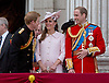 PRINCE HARRY,PRINCE WILLIAM AND KATE, DUCHESS OF CAMBRIDGE<br /> watch the flypast by the RAF on the balcony of Buckingham Palace during Trooping of the Colour.<br /> The Duke of Edinburgh missed the event as he is hospitalised after undergoing surgery.<br /> The Trooping marks the official birthday of the Queen_15/6/2013<br /> Mandatory Credit Photo: &copy;NEWSPIX INTERNATIONAL<br /> <br /> **ALL FEES PAYABLE TO: &quot;NEWSPIX INTERNATIONAL&quot;**<br /> <br /> IMMEDIATE CONFIRMATION OF USAGE REQUIRED:<br /> Newspix International, 31 Chinnery Hill, Bishop's Stortford, ENGLAND CM23 3PS<br /> Tel:+441279 324672  ; Fax: +441279656877<br /> Mobile:  07775681153<br /> e-mail: info@newspixinternational.co.uk
