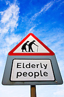 Road sign warns about elderly people crossing the road, Worcestershire, UK