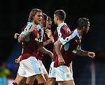 Jeff Hendrick of Burnley (l) celebrates scoring the first goal during the Premier League match at Turf Moor Stadium, Burnley. Picture date: September 26th, 2016. Pic Simon Bellis/Sportimage