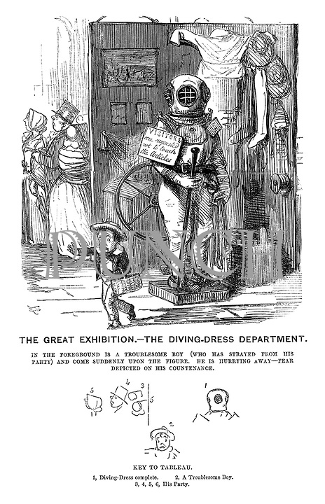 The Great Exhibition - The Diving-Dress Department. In the foreground is a troublesome boy (who has strayed from his party) and come suddenly upon the figure. He is hurrying away - fear depicted on his countenance.