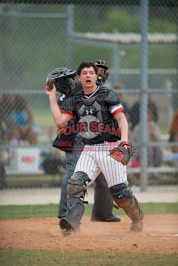Edgewood Eagles catcher Alex Prindle (15) during a game against the South Vermont Mountaineers on March 18, 2019 at Lee County Player Development Complex in Fort Myers, Florida.  South Vermont defeated Edgewood 19-6.  (Mike Janes/Four Seam Images)