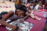 STANFORD, CA - January 22, 2011: Nnemkadi Ogwumike of the Stanford women's basketball team signs autographs after their game against USC at Maples Pavilion. Stanford beat USC 95-51.