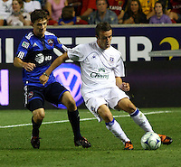 Will Johnson, Jose Baxter in the MLS All Stars v Everton 4-3 Everton win at Rio Tinto Stadium in Sandy, Utah on July 29, 2009