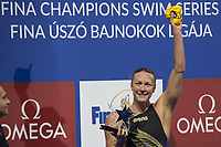 Sarah Sjoestroem of Sweden receives awards after winning the Women's 50m Freestyle final at the FINA Champions Swim Series at the Danube Arena in Budapest, Hungary on May 12, 2019. ATTILA VOLGYI