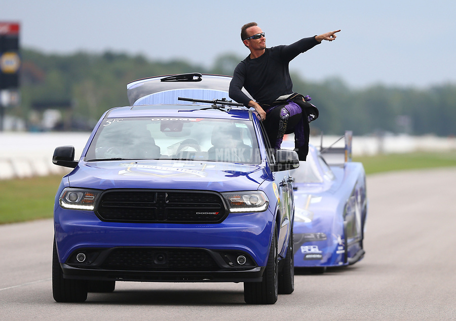 Aug 18, 2017; Brainerd, MN, USA; NHRA funny car driver Jack Beckman reacts during qualifying for the Lucas Oil Nationals at Brainerd International Raceway. Mandatory Credit: Mark J. Rebilas-USA TODAY Sports