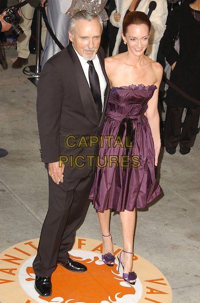 DENNIS HOPPER & VICTORIA DUFFY.The 2007 Vanity Fair Oscar Party Hosted by Graydon Carter held at Morton's, West Hollywood, California, USA,.25 February 2007..full length strapless purple aubergine dress shoes.CAP/ADM/GB.©Gary Boas/AdMedia/Capital Pictures.