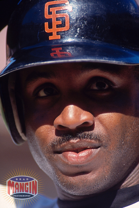 SAN FRANCISCO, CA - Portrait of Barry Bonds of the San Francisco Giants during a game at Candlestick Park in San Francisco, California in 1993. Photo by Brad Mangin