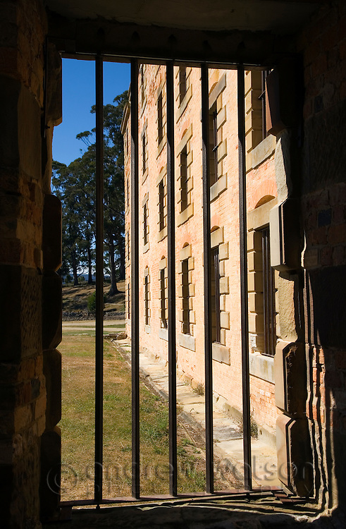 View through the jail cell windows of the Penitentiary, at the Port Arthur Historic Site.  The convict prison was in operation from 1830 to1877.  Port Arthur, Tasmania, AUSTRALIA