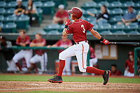 Altoona Curve shortstop Cole Tucker (3) follows through on a swing during a game against the Richmond Flying Squirrels on May 15, 2018 at Peoples Natural Gas Field in Altoona, Pennsylvania.  Altoona defeated Richmond 5-1.  (Mike Janes/Four Seam Images)