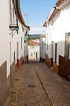 Narrow alleyway street, village of Alajar, Sierra de Aracena, Huelva province, Spain