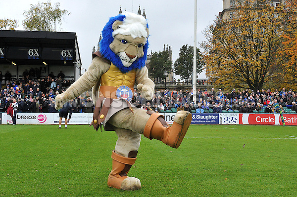 The Bath Rugby mascot Maximus. LV= Cup match, between Bath Rugby and Exeter Chiefs on November 17, 2013 at the Recreation Ground in Bath, England. Photo by: Patrick Khachfe / Onside Images