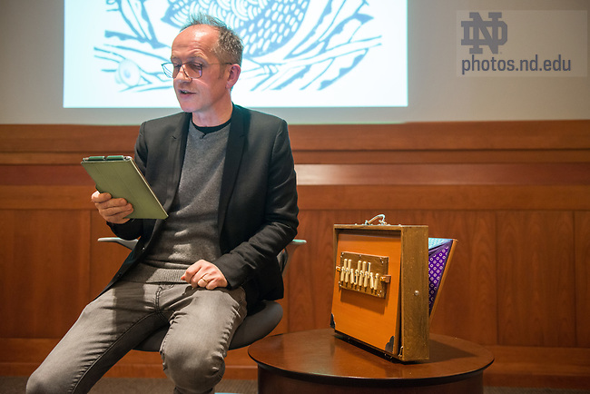 March 23, 2017; Lecture and demonstration of musician Iarla O Lionard (of the film Brooklyn).(Photo by Barbara Johnston/University of Notre Dame)