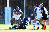 Beno Obano of Bath Rugby fends Tomas Francis of Exeter Chiefs. Gallagher Premiership match, between Exeter Chiefs and Bath Rugby on March 24, 2019 at Sandy Park in Exeter, England. Photo by: Patrick Khachfe / Onside Images