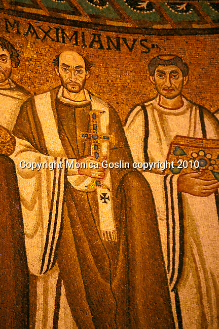 Detail of the mosaic panel in the Basilica of San Vitale in Ravenna, Italy  of the East Roman Emperor Justinian I standing with court officials, guards, and deacons; this moasic panel was made in 548.