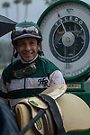 ARCADIA, CA  MARCH 10:  Smiling Victor Espinozer after piloting Accelerate to win the Santa Anita Handicap (Grade l) on March 10, 2018, at Santa Anita Park in Arcadia, CA. (Photo by Casey Phillips/ Eclipse Sportswire/ Getty Images)