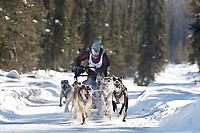 Trisha Seibold drives an 8 dog team in the 2009 Limited North American sprint sled dog race, Fairbanks, Alaska.