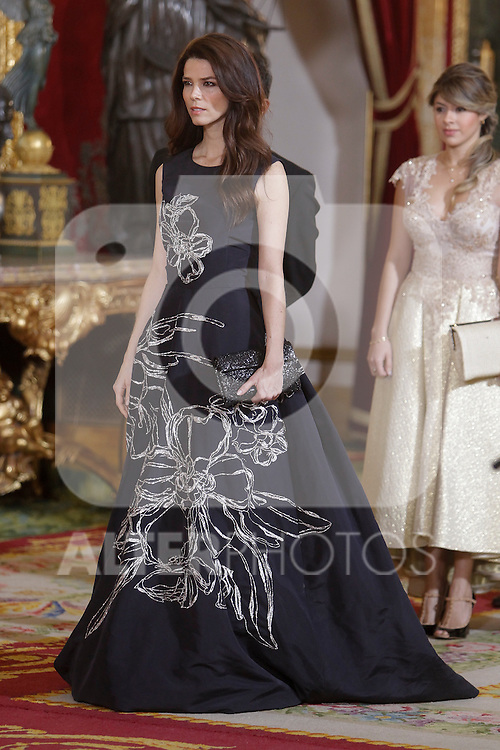 Spanish Royals host a dinner for the Colombian President Juan Manuel Santos and his wife Maria Clemencia Rodriguez in Madrid, Spain. In the pic: Juana Acosta. March 02, 2015. (Jose Luis Cuesta/POOL/ALTERPHOTOS)