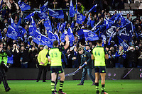 Leinster Rugby supporters celebrate their team's win. European Rugby Champions Cup match, between Northampton Saints and Leinster Rugby on December 9, 2016 at Franklin's Gardens in Northampton, England. Photo by: Patrick Khachfe / JMP