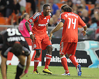 Nicholas Lindsay #37 and Dwayne De Rosario #14 of Toronto FC after Dwayne De Rosario had scored during an MLS match against D.C. United that was the final appearance of D.C. United's Jaime Moreno at RFK Stadium, in Washington D.C. on October 23, 2010. Toronto won 3-2.