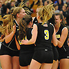 Wantagh teammates celebrate after their 3-0 win over Long Beach in the Nassau County varsity girls' volleyball Class A final at SUNY Old Westbury on Wednesday, Nov. 11, 2015.<br /> <br /> James Escher