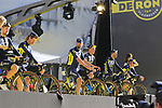 Orica-Scott team on stage at sign on before the 101st edition of the Tour of Flanders 2017 running 261km from Antwerp to Oudenaarde, Flanders, Belgium. 26th March 2017.<br /> Picture: Eoin Clarke | Cyclefile<br /> <br /> <br /> All photos usage must carry mandatory copyright credit (&copy; Cyclefile | Eoin Clarke)