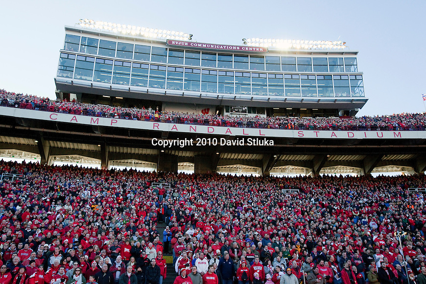 A general view of the Evjue Communications Center at Camp Randall Stadium during the Wisconsin Badgers NCAA college football game against the Northwestern Wildcats on November 27, 2010 in Madison, Wisconsin. The Badgers won 70-23. (Photo by David Stluka)