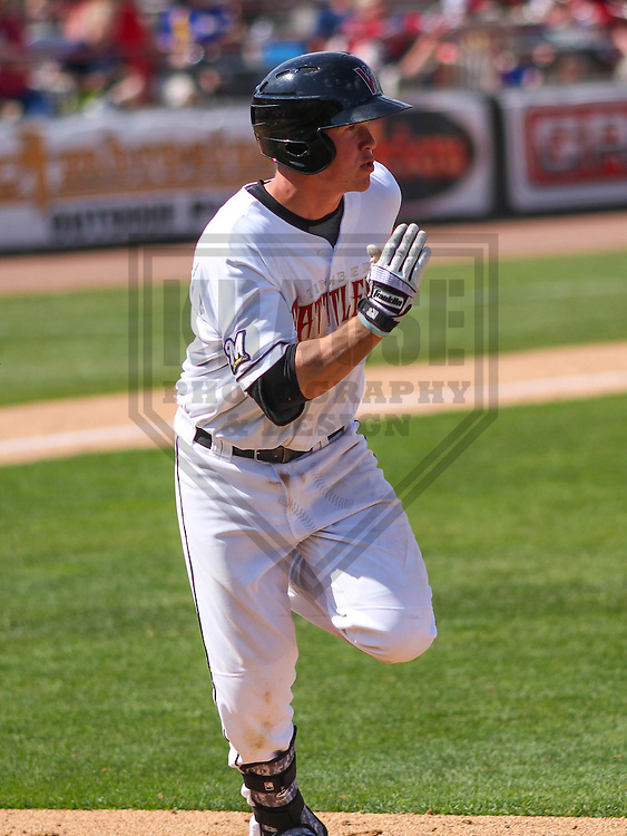 APPLETON - May 2015: Wisconsin Timber Rattlers third baseman Tucker Neuhaus (10) during a game against the Quad Cities River Bandits on May 2nd, 2015 at Fox Cities Stadium in Appleton, Wisconsin.  Quad Cities defeated Wisconsin 5-2.  (Brad Krause/Four Seam Images)