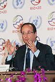 French President François Hollande gives a press conference at the United Nations Conference on Sustainable Development (Rio+20), Rio de Janeiro, Brazil, 20th June 2012. Photo © Sue Cunningham.