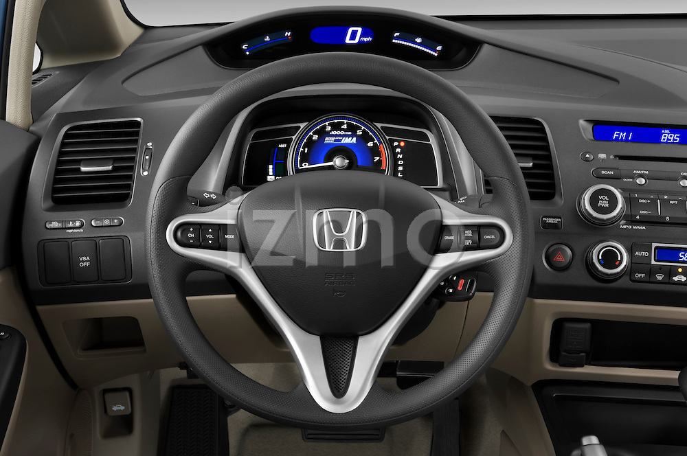 Steering Wheel View Of A 2009 Honda Civic Hybrid